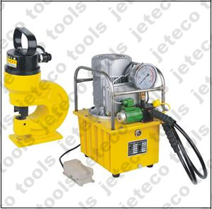 Electric hydraulic pump operated hole puncher